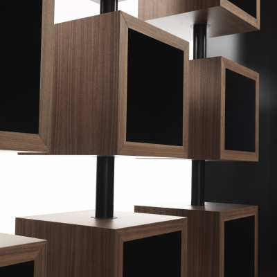 design bookcase curvy turning element detail top center